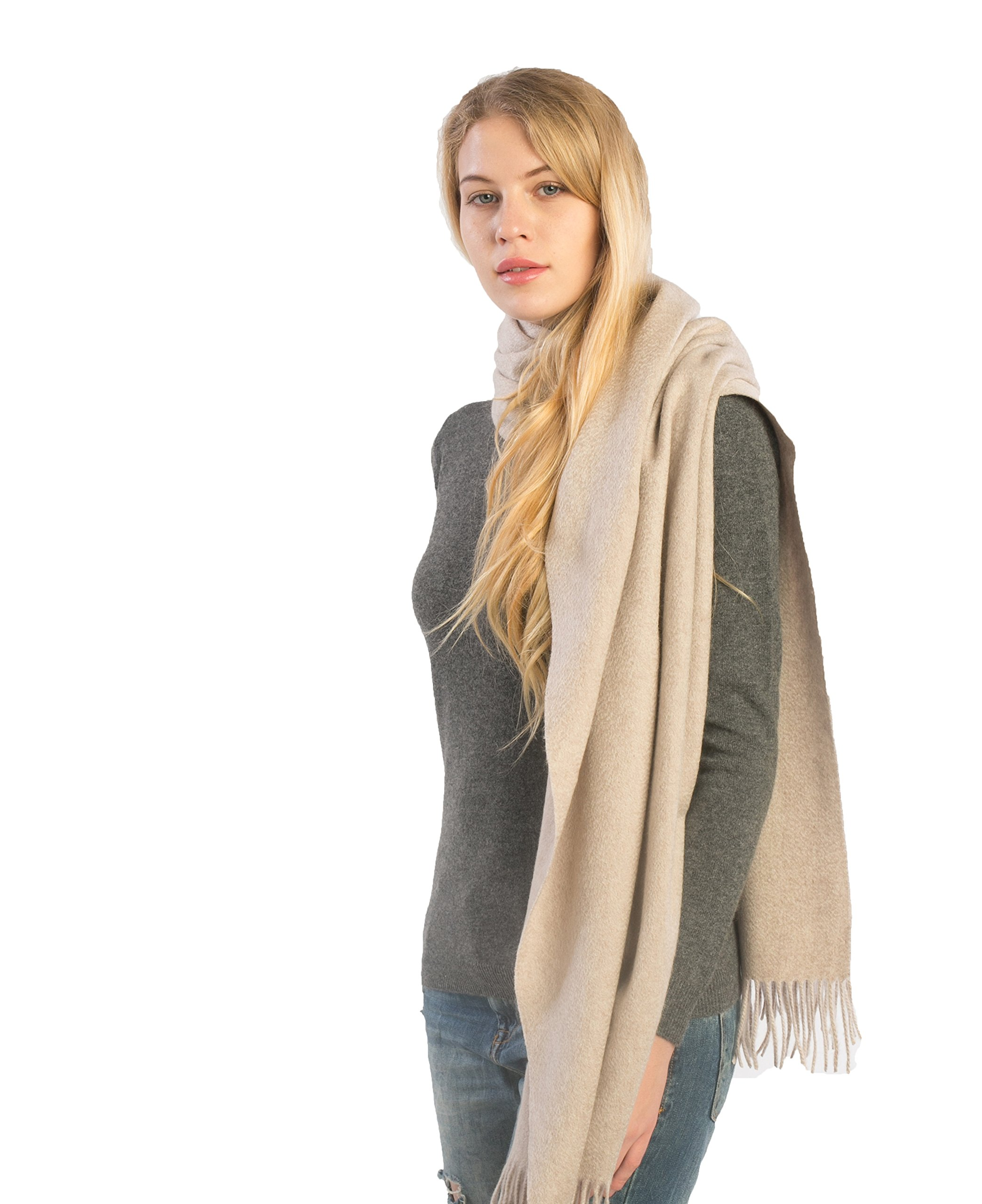 100% Pure Cashmere Shawl Travel Wrap (Stole) - Extra Large Scarf for Women - by cashmere 4 U (cream)