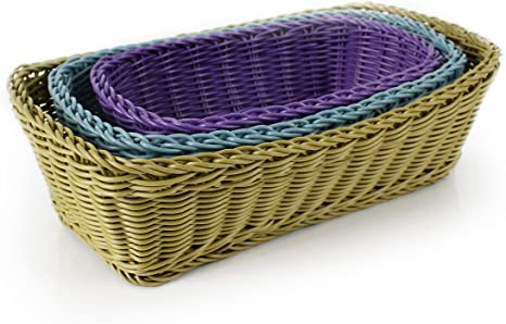 Neoflam 3 Piece Plasket Poly Wicker Rectangle Baskets Set Multi Kitchen Dining
