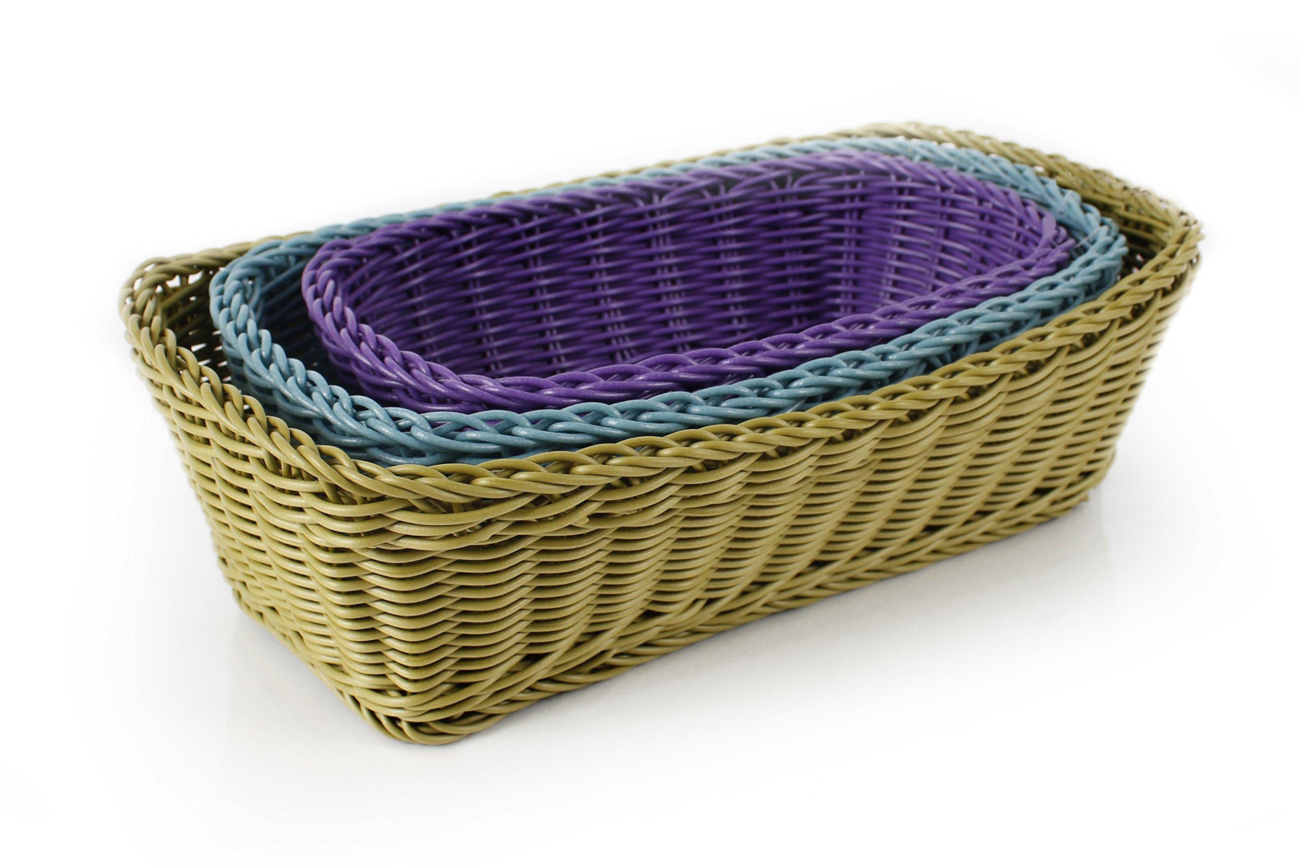 Neoflam 3-Piece Plasket Poly-Wicker Rectangle Baskets Set