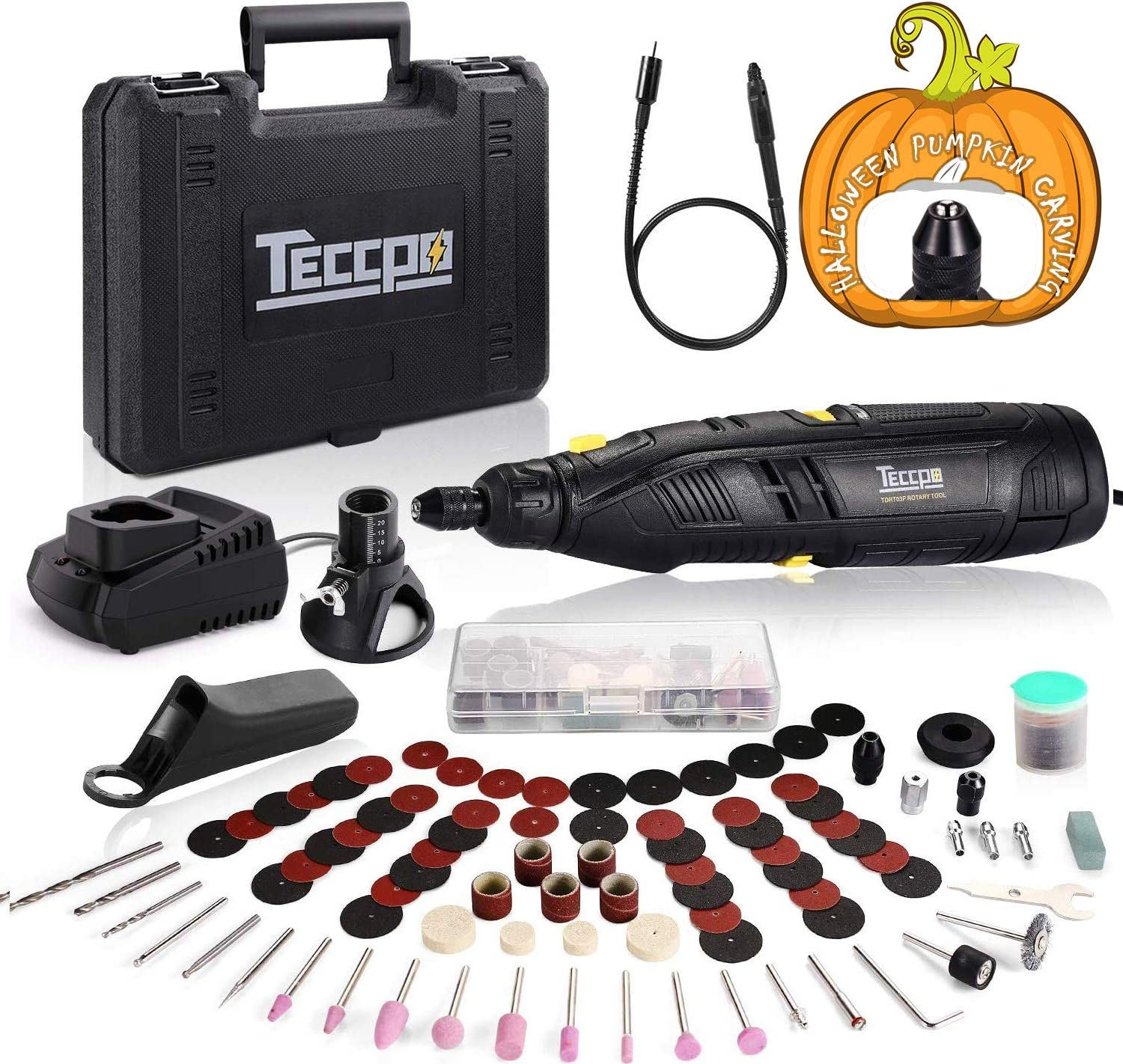 Cordless Rotary Tool, TECCPO 12V with 2.0Ah Lithium-ion Battery, 1-Hour Fast Charge, 5000-28000RPM 6-Speeds Adjustable, Universal Keyless Chuck, 80 Accessories, Perfect for Halloween Pumpkins Carving.