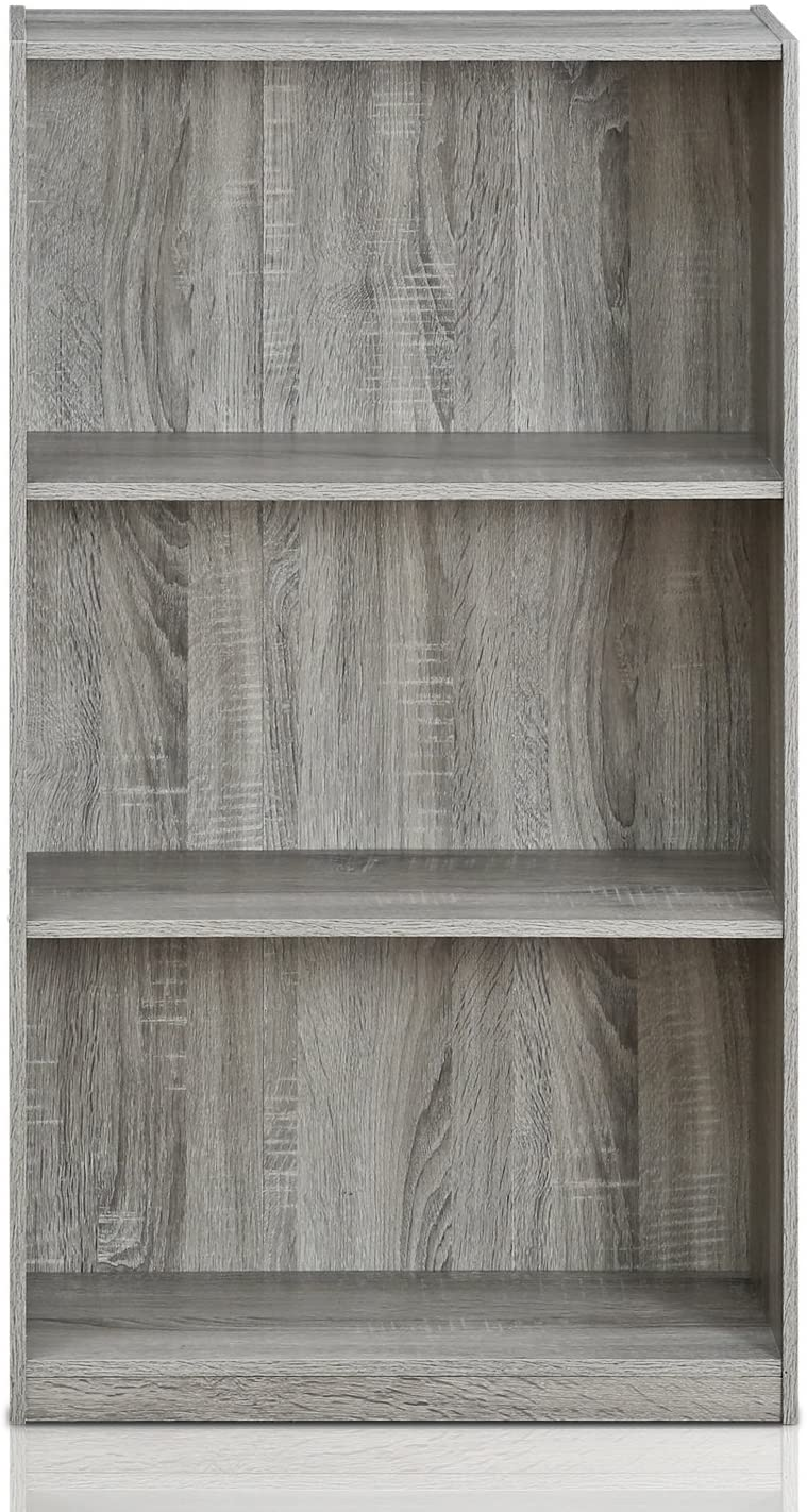 Furinno Bookcases, Wood, French Oak Grey/Black, one size French Oak Grey