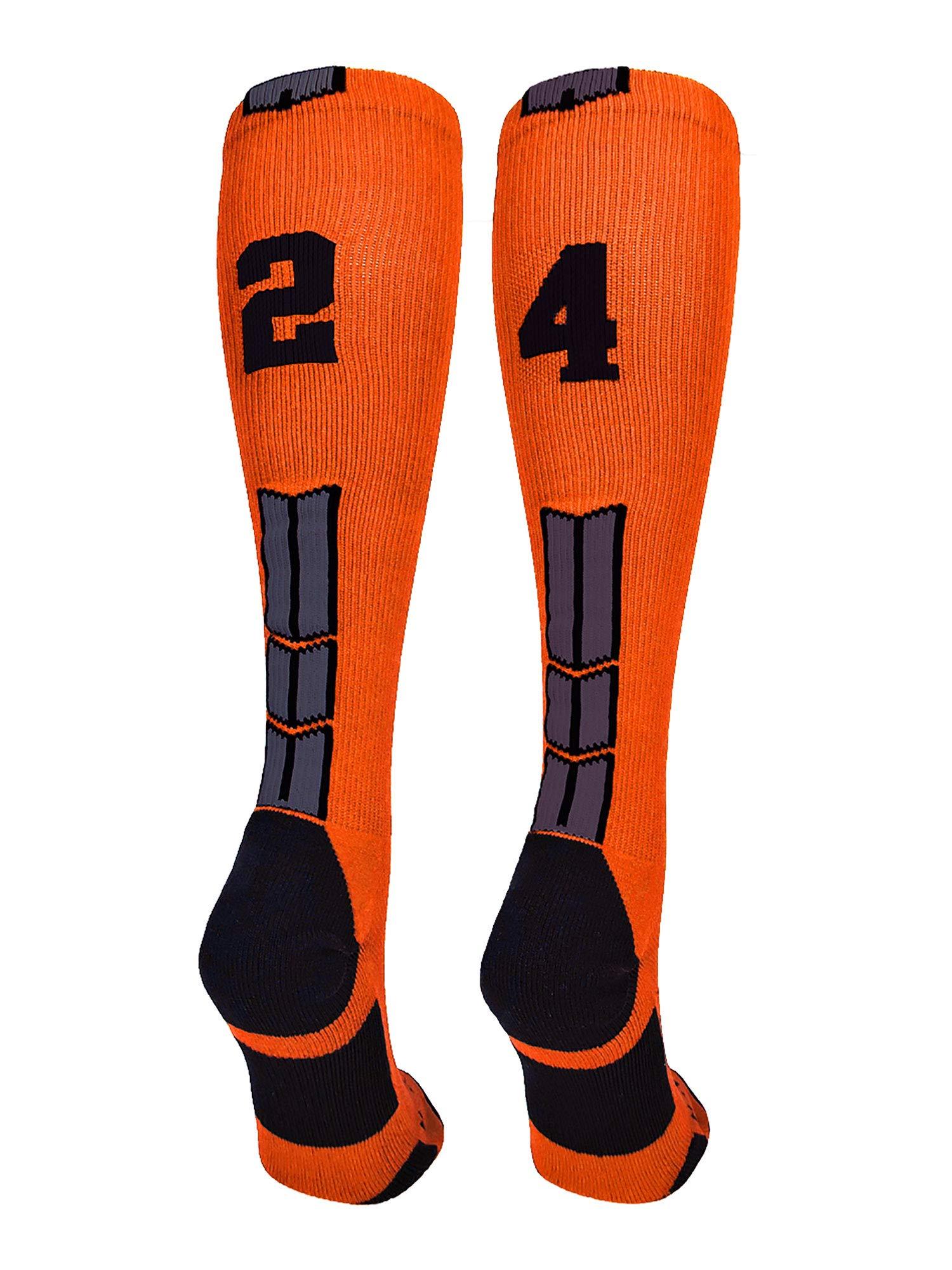 MadSportsStuff Orange/Black Player Id Over the Calf Number Socks (#24, Medium) by MadSportsStuff (Image #1)