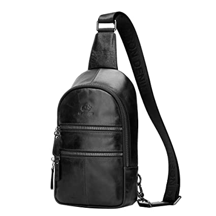 a8c030ff BISON DENIM Mens Genuine Leather Cross body Satchel Sling Bag Unbalance  Shoulder Bag Chest Bags (Black)