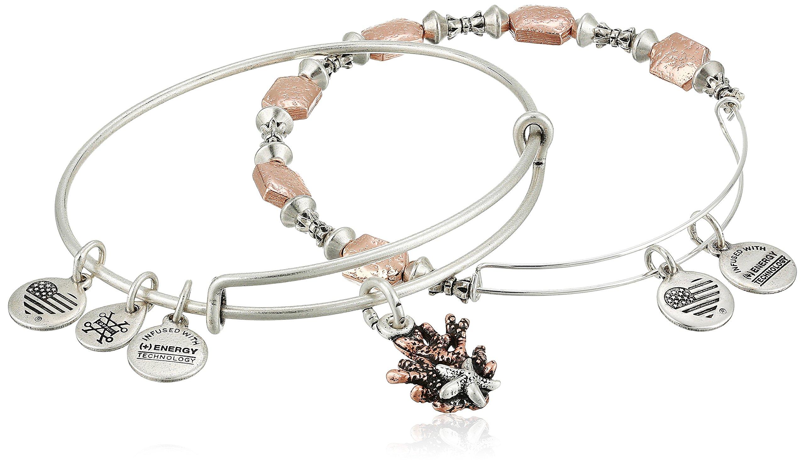 Alex and Ani Women's Coral Set of 2 Bangle Bracelet, Rafaelian Silver, Expandable
