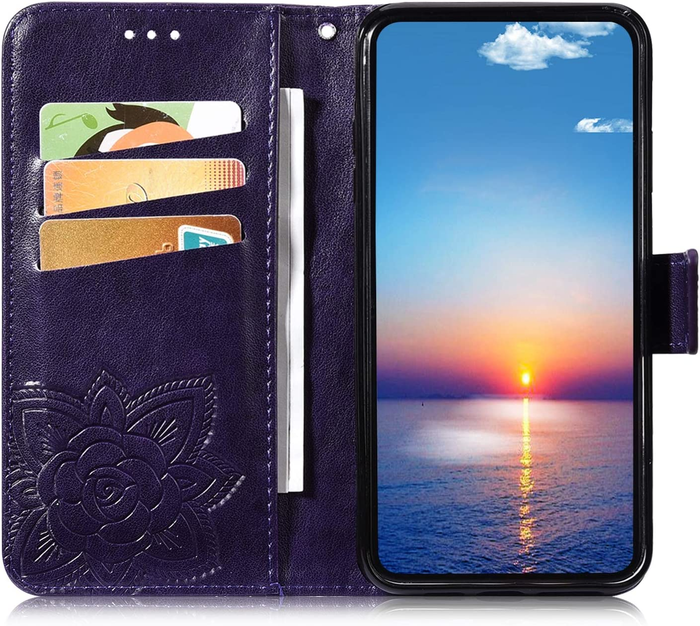 Herbests Compatible with Huawei Mate 20 Wallet Case Leather Flip Cover 3D Pressed Butterfly Flower Pattern Protective Phone Case Shockproof Cover Card Slots Stand Magnetic,Gray