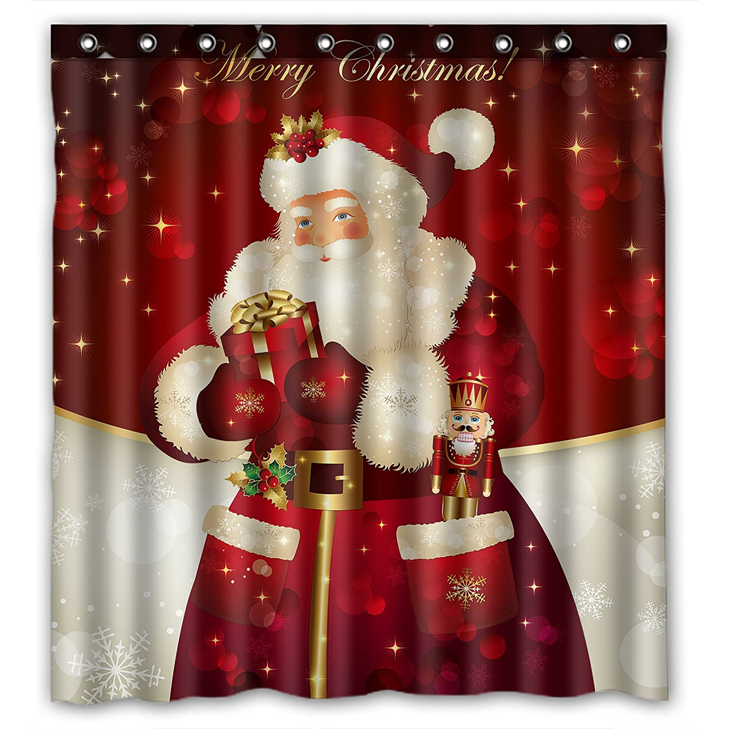 Unique Custom Merry Christma s Dreamlike the Santa Claus Waterproof fabric Polyester Shower Curtain