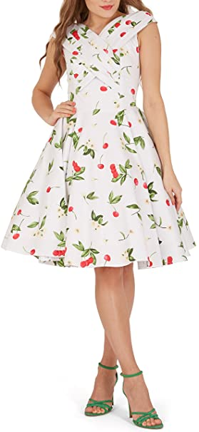 BlackButterfly Enya Vestido Vintage Pin-Up Joy (Blanco Rojo, ...