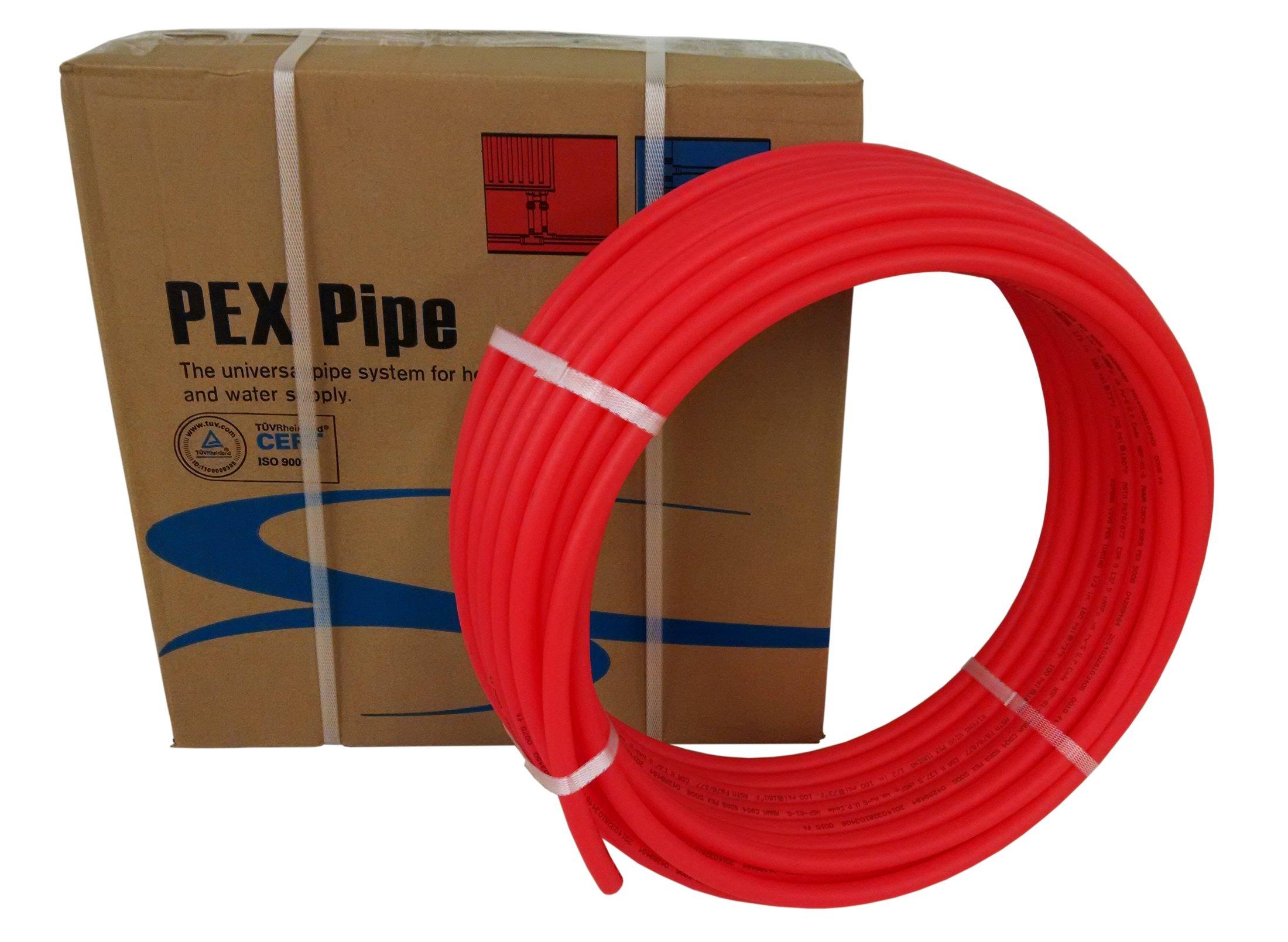 3/4'' x 500ft feet Pex Tubing Oxygen Barrier O2 EVOH Pex-B Red Radiant Floor Heat (PEX-34H-R050)