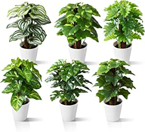 Kazeila Small Fake Plants 9.5 Inches Artificial Plants for Home Decor Indoor,Set of 6 Faux Plants