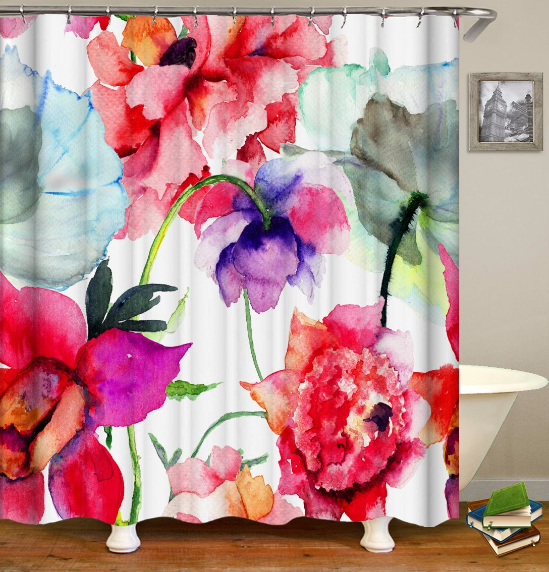 Livilan Aestheticism Shower Curtain Set, Abstract Watercolor Flowers Print, Thick Polyester Fabric, Mildew Mold Resistant Waterproof Machine Washable, 72 X 72 inch, Red