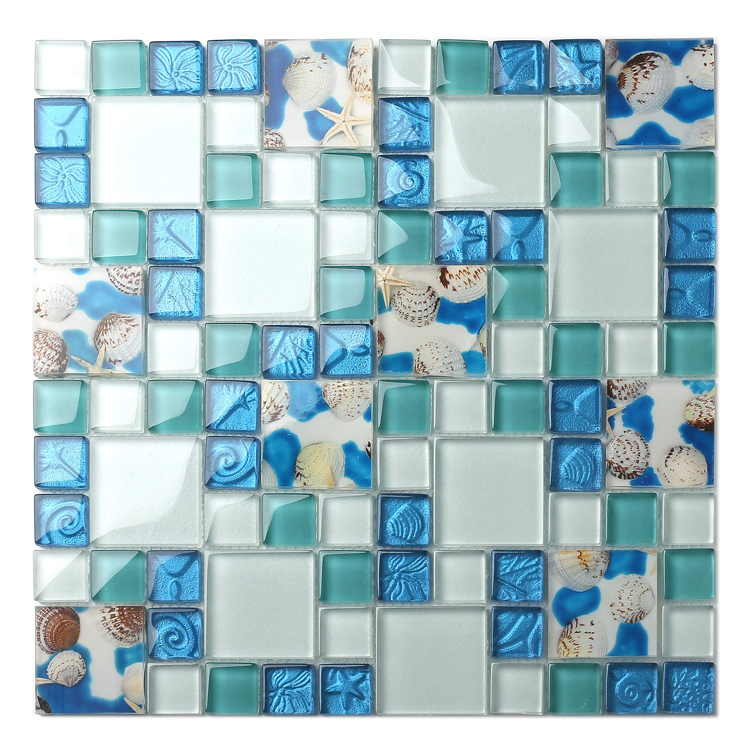TST Mosaic Tiles Glass Conch Tiles Beach Style Sea Blue Glass Tile Glass Mosaics Wall Art Kitchen Backsplash Bathroom Design TSTGT370 (1 Sample 12x12 Inches) by BLUJELLYFISH