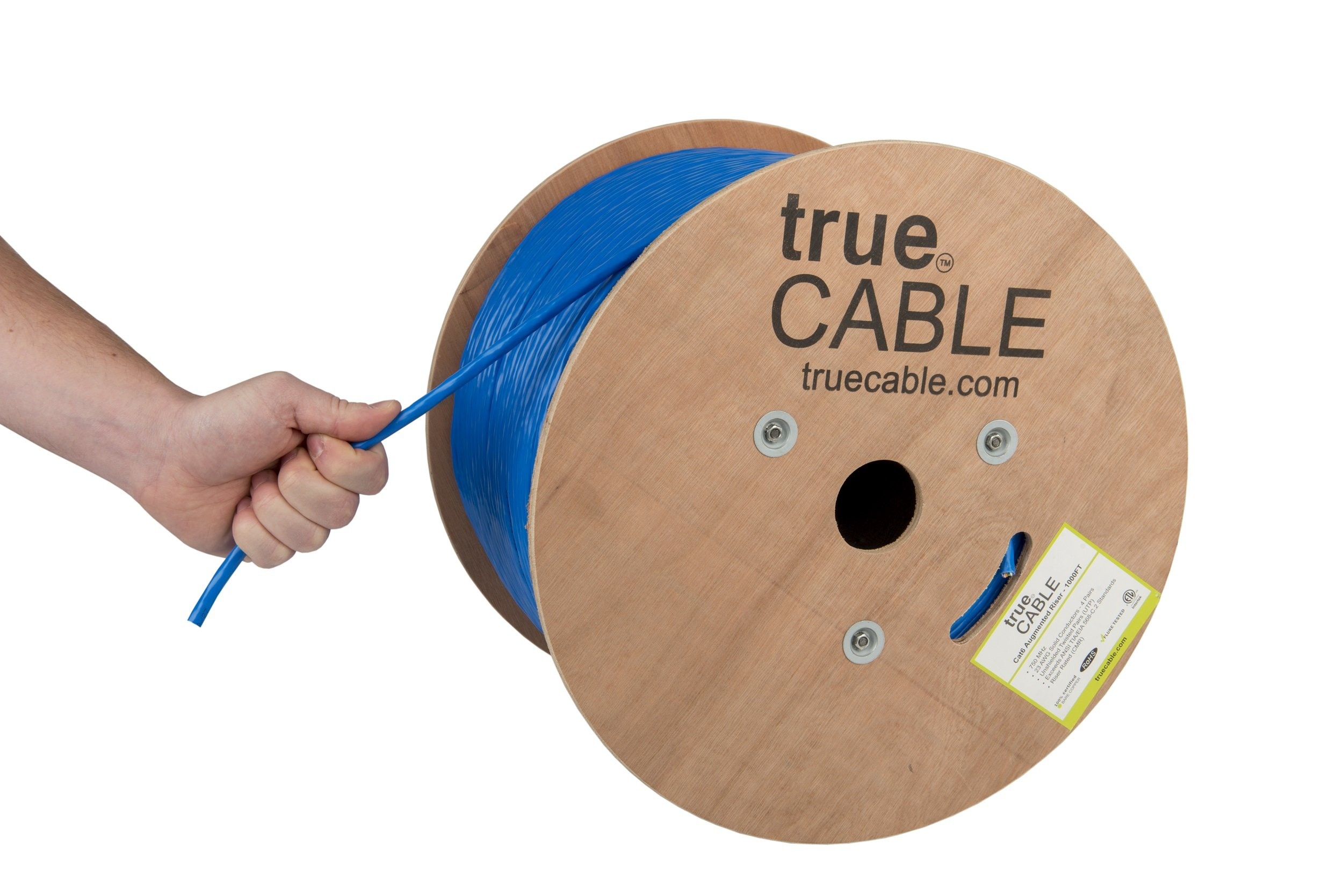 Cat6A Riser (CMR), 1000ft, Blue, Solid Bare Copper Bulk Ethernet Cable, 750MHz, ETL Listed, 23AWG 4 Pair, Unshielded Twisted Pair (UTP), trueCABLE
