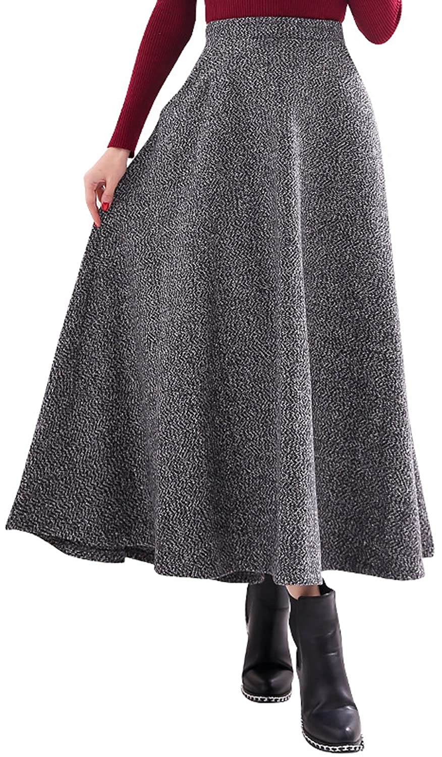 Victorian Skirts | Bustle, Walking, Edwardian Skirts chouyatou Womens Elegant High-Waist Wool A-Line Maxi Skirt with Pockets $32.98 AT vintagedancer.com