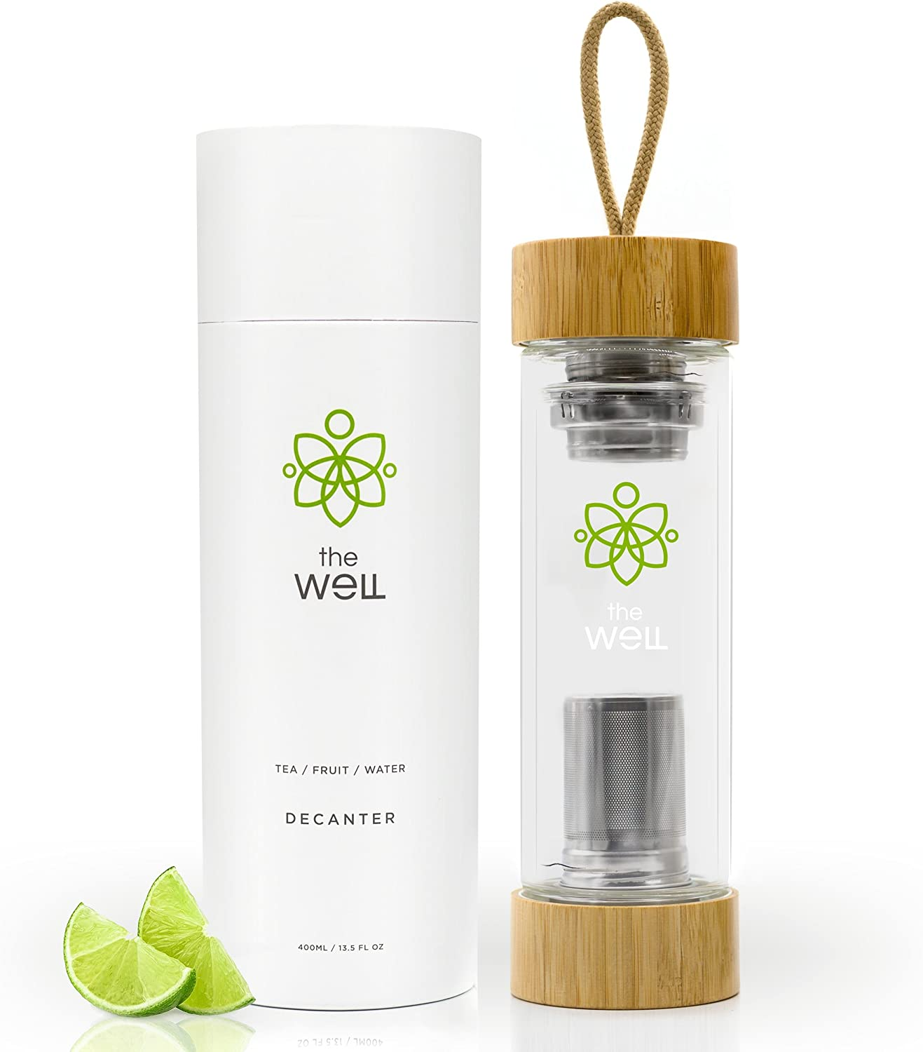 The Well 2.0 Double Walled Tea Bottle with Bamboo Lids (14oz)