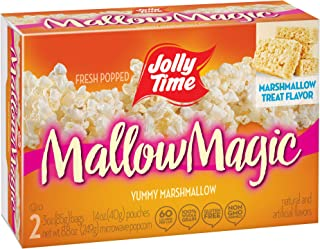 product image for JOLLY TIME Mallow Magic | Sweet Marshmallow Microwave Popcorn with Candy Coated Sugar Topping for an Easy Gourmet Treat (2-Count Box, Pack of 12)