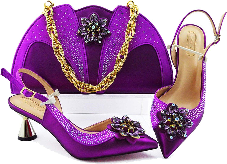 Juego de zapatos y bolsos para mujer de 7 cm con bolsas a juego para fiesta Morado
