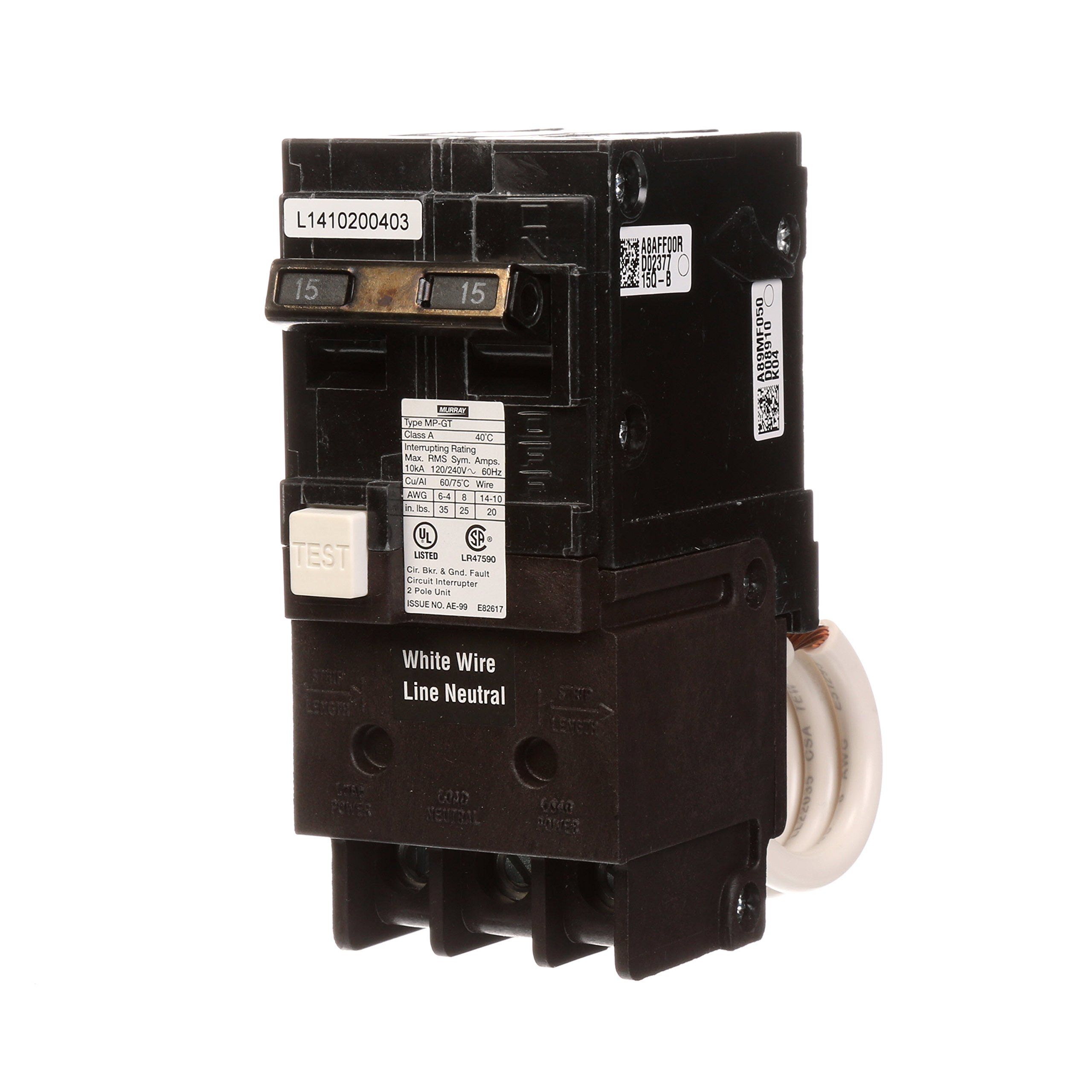 Murray MP215GFA 15 Amp 2-Pole Gfci Circuit Breaker with Self Test & Lockout Feature