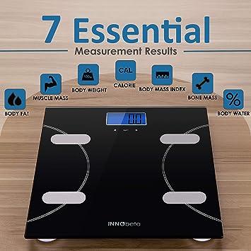 INNObeta Fitfy Basic Basculas de Baño Inteligente báscula grasa corporal Pesos de Baño digital con dibujo Calculadora del Índice de Masa Corporal Escáner ...