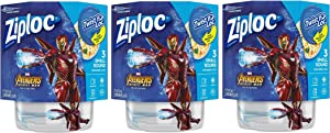 Ziploc Food Storage Meal Prep Containers, Small, 16 Oz, 3 Count, Pack of 3 (9 Total Containers), Twist N Loc- Featuring Marvel Studios' Avengers: Infinity War Design