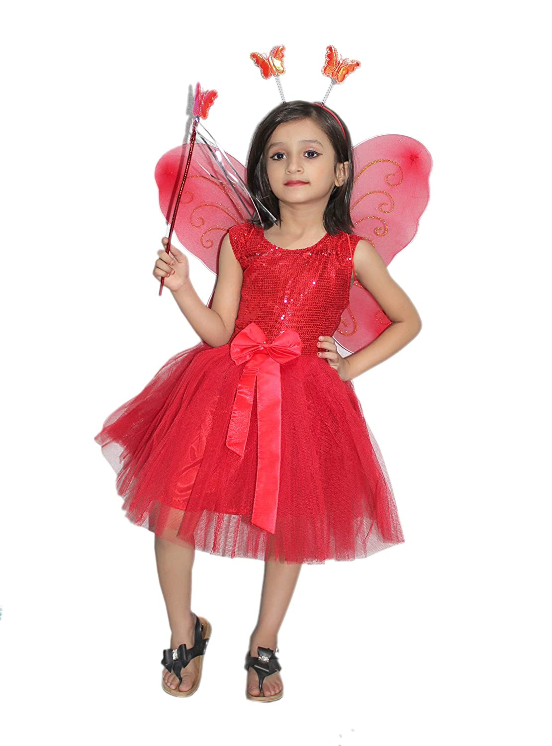 Kaku Fancy Dresses Red Butterfly Insect Costume -Red, 7-7 Years, for Girls