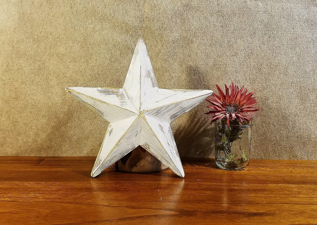 Star Christmas Tree Topper Rustic Farmhouse Wood Holiday Ornament Distressed 12 Inch White