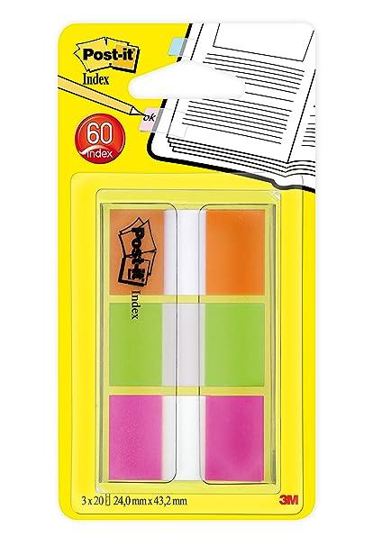 Post-It 936429-3blister x 20 índices de colores, color verde, naranja