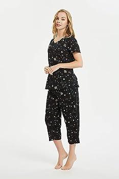 100/% Cotton Womens  PJs Polka Dot Short Sleeve Top Plain 3//4 Bottoms Pyjamas Set