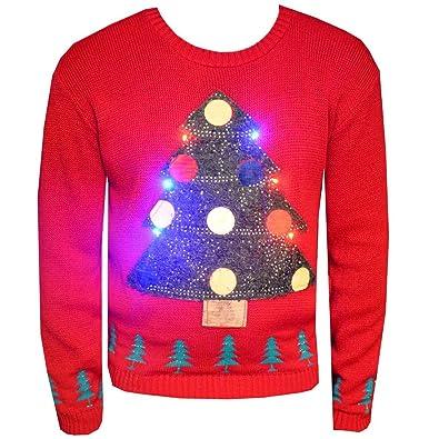 New Unisex Light Up Christmas Jumper Mens Womens Xmas Tree LED Novelty  Sweater Knitwear Festive Top - New Unisex Light Up Christmas Jumper Mens Womens Xmas Tree LED