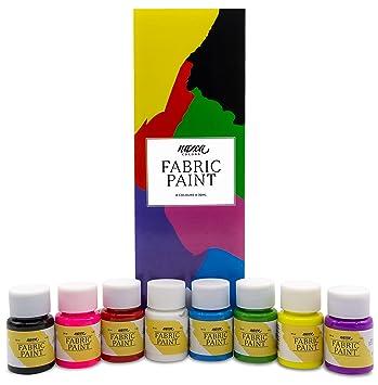 Pintura para Tela y Ropa Permanente con Gran Capacidad de Cobertura Nazca – Set 8 Colores x 30ml – Pack de Pintura Textil ideal para Pintar tus ...