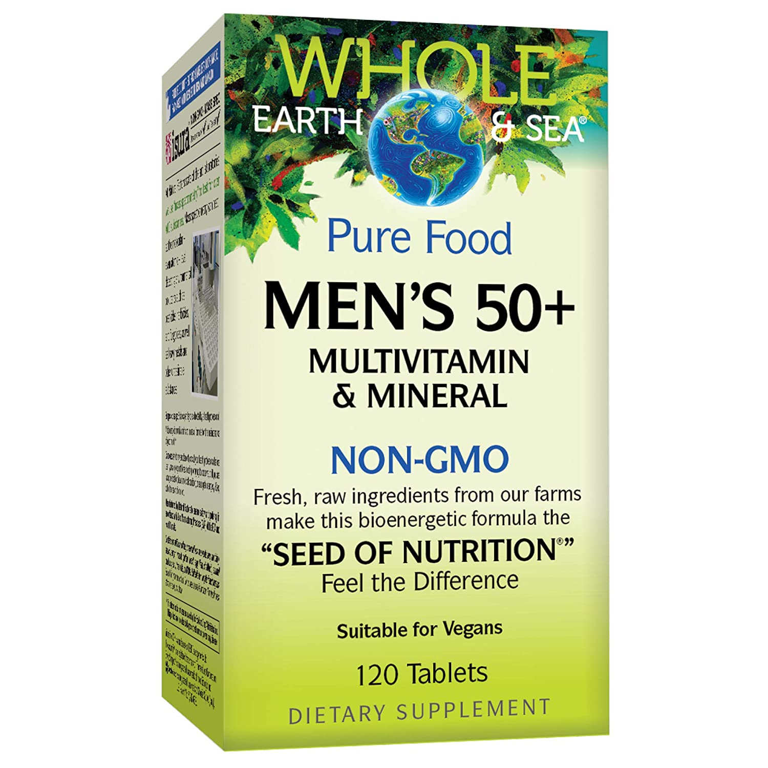 Whole Earth Sea from Natural Factors, Men s 50 Multivitamin Mineral, Whole Food Supplement, Vegan and Gluten Free, 120 Tablets 60 Servings