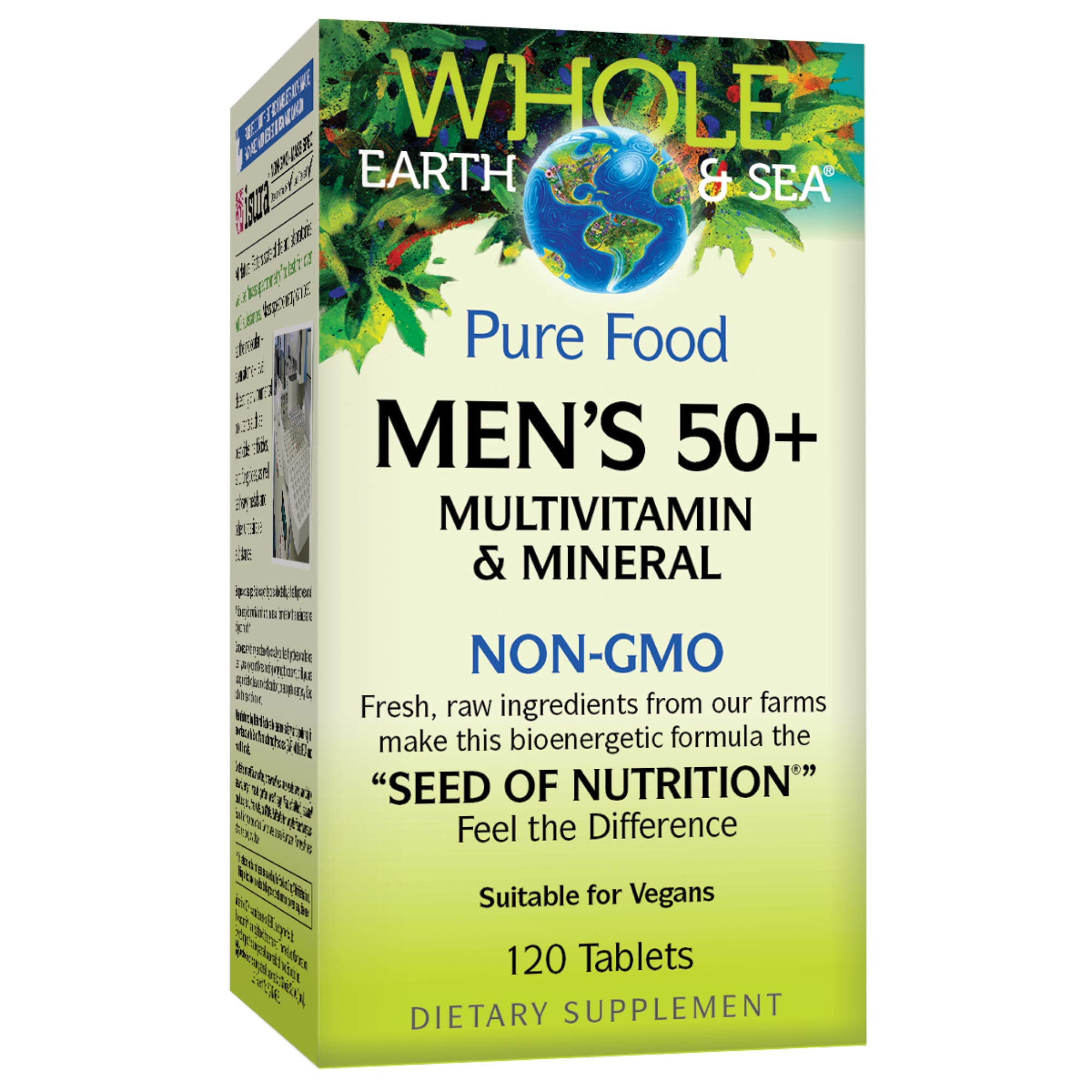 Whole Earth & Sea from Natural Factors, Men's 50+ Multivitamin & Mineral, Whole Food Supplement, Vegan and Gluten Free, 120 Tablets (60 Servings)
