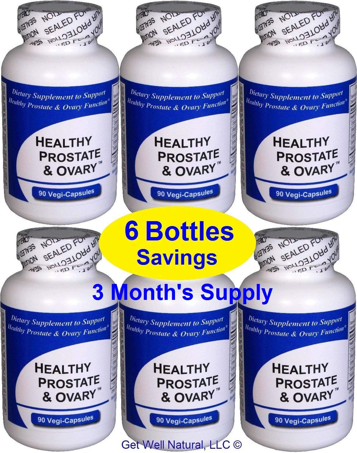Healthy Prostate and Ovary (6 Bottles Contain a Total of 540 Capsules) - Concentrated Herbal Blend - with Crinum Latifolium, Vegan Kosher Caps. Prostate Herbs for Optimal Support*