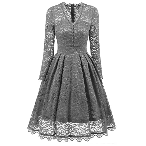 NALATI Vintage 1950s Floral Print Lace Long Sleeve V Neck Formal Evening Prom Party Cocktail Swing