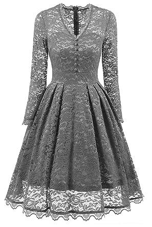 NALATI Women Vintage Long Sleeve V Neck Floral Print Party Cocktail Dress  (UK Size 10