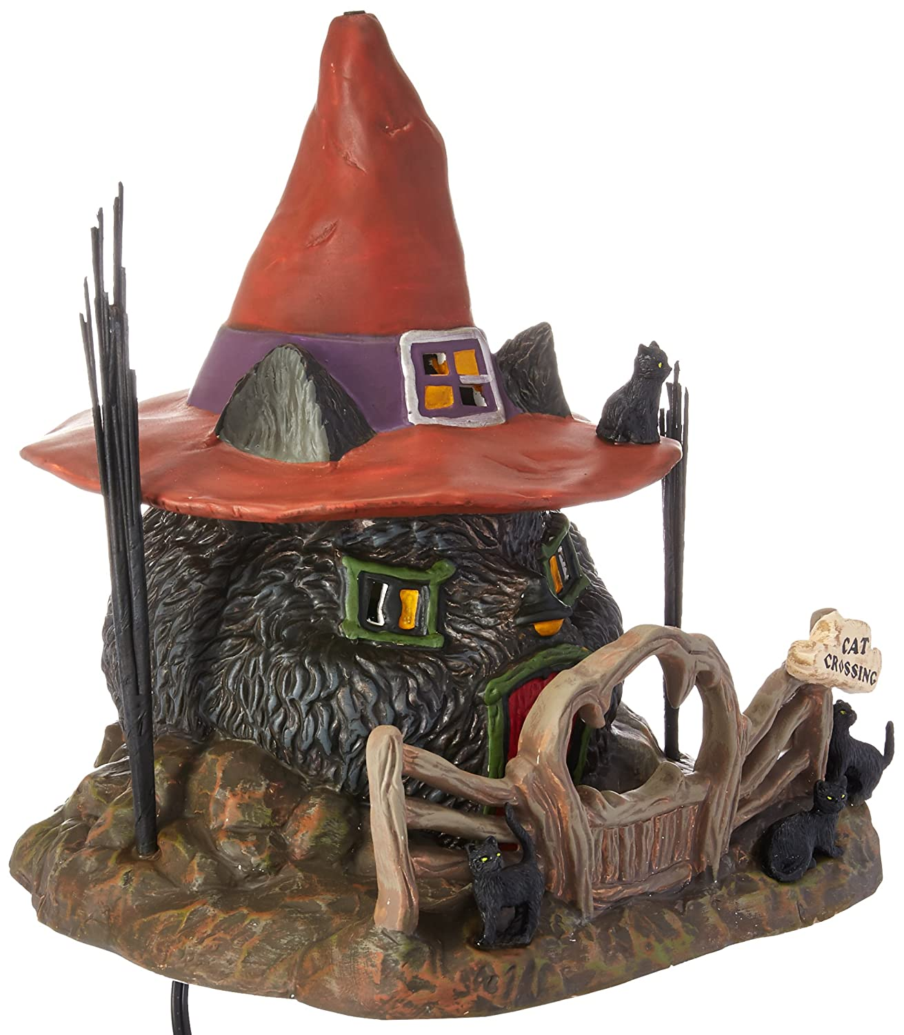 Department 56 Snow Village Halloween Black Cat Shack Lit House, 7.88