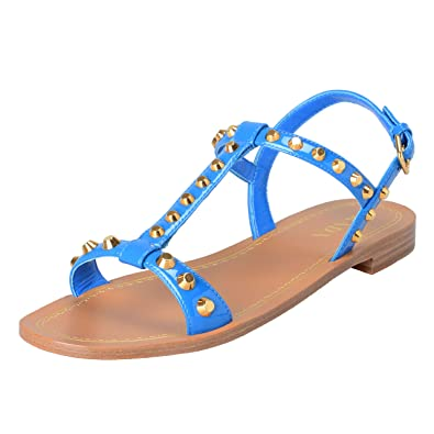 Image Unavailable. Image not available for. Color  Prada Women s Vernice  Blue Patent Leather Flat Sandals ... 0d0a37e11e