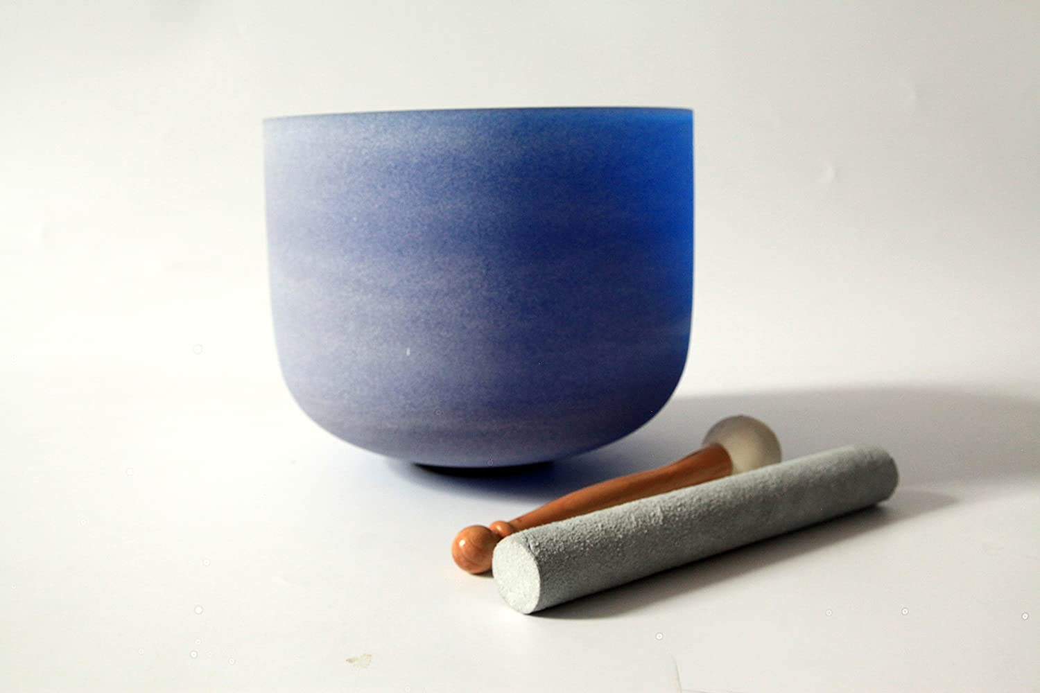 """Blue Colored Frosted G Throat Chakra Quartz Crystal Singing Bowl 10"""""""