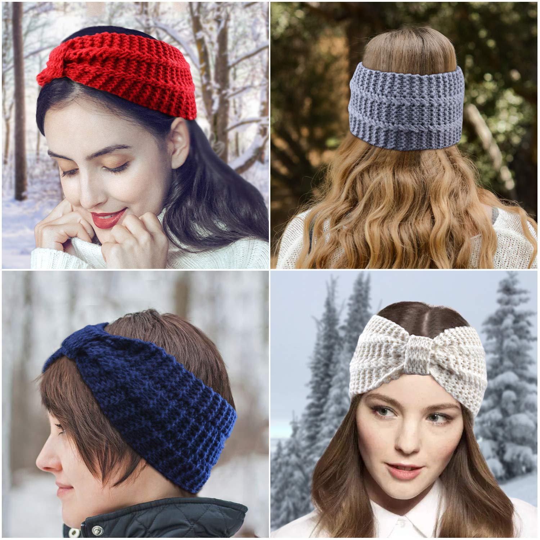 Fascigirl 6 PCS Women\'s Knit Headband Ear Warmers Winter Wide Bow Hair Bands Turban Hair Accessories