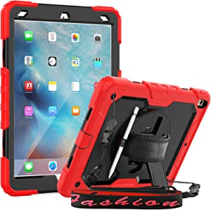 SEYMAC iPad 10.5 Air 3 Case, Full Body Protection Case with 360 Degree [Hand Strap] Stand & Shoulder Strap [Pencil Holder] Screen Protector for iPad Air 3 2019 / Pro 10.5 2017 (Red+Black)