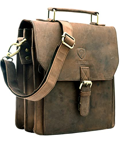 dbf6332d2 J Wilson London - 100% Pure Real Distressed Vintage Hunter Leather Handmade  Unisex Crossover Shoulder Messenger Briefcase Bag: Amazon.co.uk: Shoes &  Bags