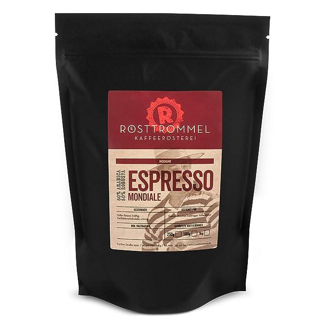 Espresso beans MONDIALE - casa de asado alemán del año 2017 - chocolate negro, fuerte
