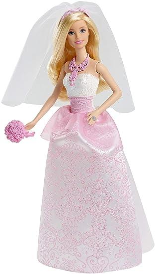 Barbie poupée Mariée en robe de mariage blanche et rose avec son voile et  un bouquet
