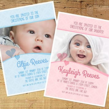 Personalised Photo Boys Girls Christening Baptism Naming Day Invitation Cards Cb010 Pack Of 30