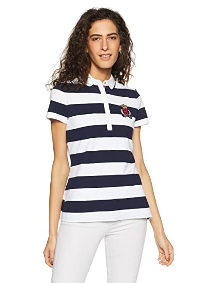 96215acc Tommy Hilfiger Women's Striped Regular Fit Polo (P8BWK107_XS_CORE  Navy/Classic White)