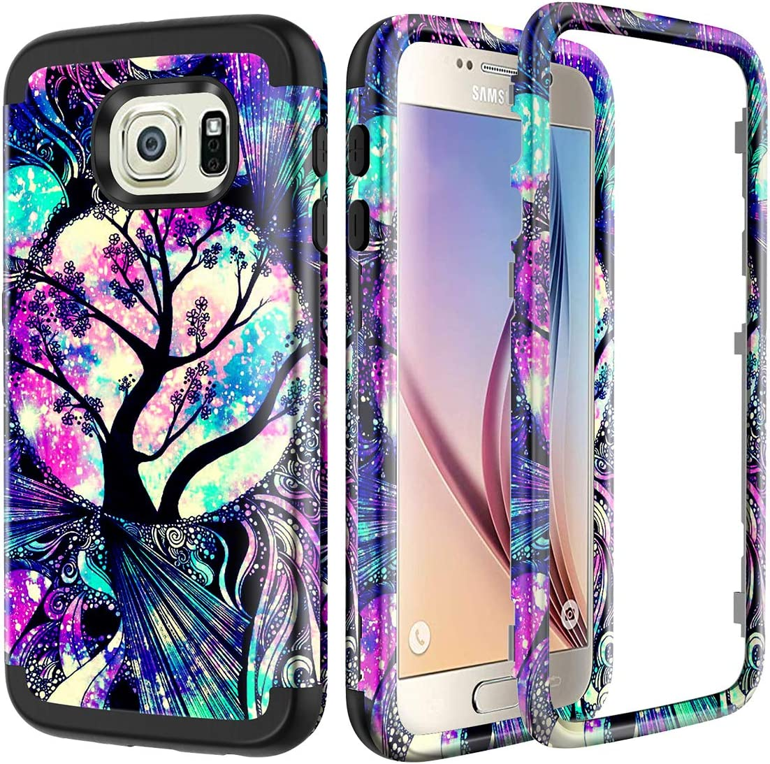 Lamcase for Galaxy S6 Case Shockproof Dual Layer Hard PC & Flexible Silicone High Impact Durable Bumper Protective Case Cover Samsung Galaxy S6 G920, Life Tree