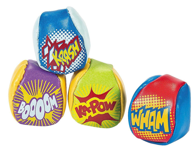 Fun Express Vinyl Action-Packed Superhero Kick Balls - 12 Pieces