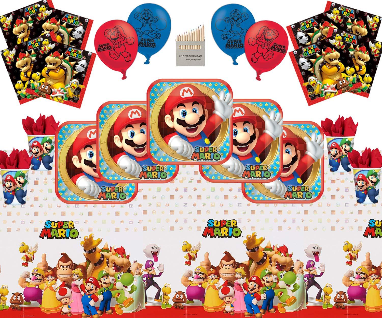 Mario Party Supplies Artículos para la fiesta de Mario Paquete de vajilla para el feliz cumpleaños de Super Mario Bros Brothers para 16- Mario Plate ...