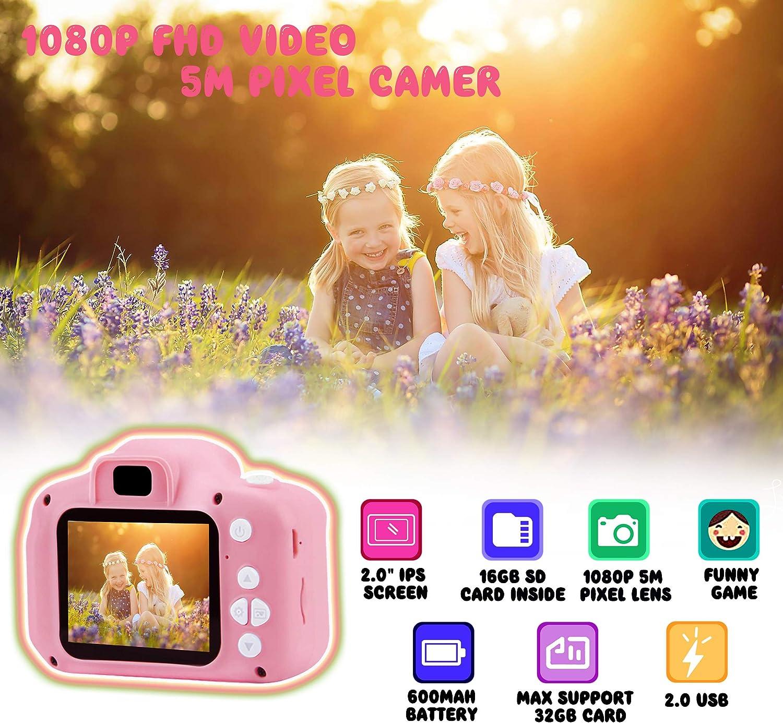 Rose ASIUR C/ámara Digital para ni/ños Juguetes C/ámara de Fotos para ni/ños peque/ños Pantalla HD de 2 Pulgadas C/ámara de Video 1080P Regalos para ni/ños y ni/ñas de 3 a 8 a/ños