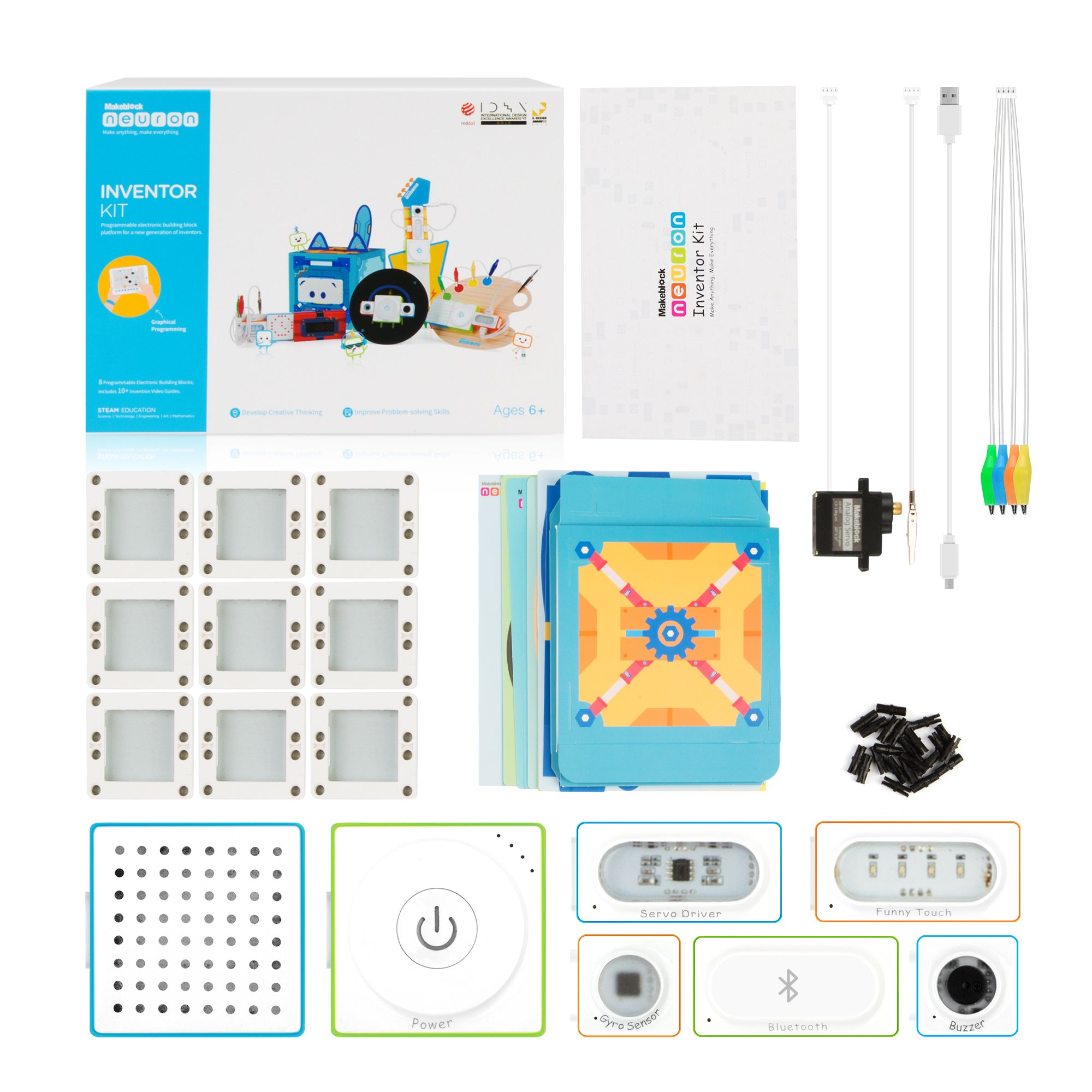 Makeblock Neuron Inventor Kit, STEAM Education, Graphical Programming, Magnetic Pogo Pins for 6 Year & up Kids+ with 6 Basic Blocks, Over 10 Kinds of Funny Robots, Like Rabbit,Dashing Raptor by Makeblock (Image #8)