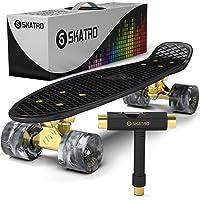 Mini Cruiser Skateboard. 22x6inch Retro Style Plastic Board Comes Complete